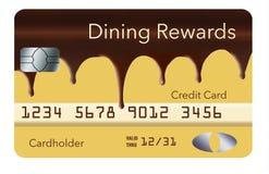 Eine Kreditkarte, die Bargeldrückseitenbelohnungen für heraus speisen anbietet, ist entworfen, um wie die Boston-Sahnetorte auszu lizenzfreie abbildung
