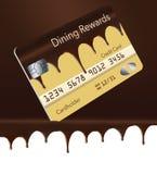 Eine Kreditkarte, die Bargeldrückseitenbelohnungen für heraus speisen anbietet, ist entworfen, um wie die Boston-Sahnetorte auszu vektor abbildung