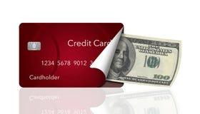 Eine Kreditkarte wird zurück abgezogen, um hundert Dollarscheininnere aufzudecken Dieses veranschaulicht das Tragen einer Karte a stock abbildung