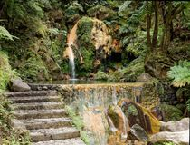 Eine Lagune von den Azoren lizenzfreies stockbild