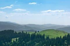 Eine Landschaft mit Bergen und grünen Bäumen im Karpaten Lizenzfreie Stockfotos