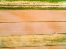 Eine Landschaft von den bebauten Feldern gesehen von einer Vogel ` s Augenansicht Gurte und Linien geschaffen durch Felder Lizenzfreie Stockfotos