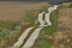 Eine Landstraße durch Ackerland Sandy-Hügel auf dem Weg Lizenzfreies Stockbild