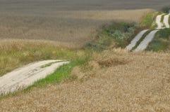 Eine Landstraße durch Ackerland Sandy-Hügel auf dem Weg Land Stockbilder