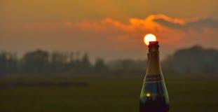 Eine leere glückliche Flasche in der Abendsonne Lizenzfreies Stockbild