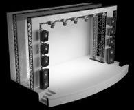 Eine leere Szene mit einem weißen Hintergrund, einer Akustik und einem Licht Stockbilder