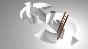 Eine Leiter, zum vom Dollar herauszukommen Stockbild