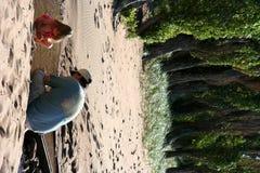 Eine Lektion auf dem Strand stockfotografie