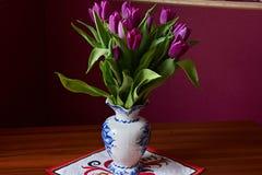 Eine lila Tulpenknospe Nahaufnahme Stockbilder