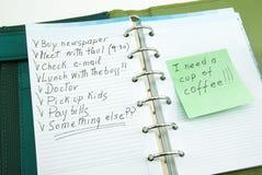 Eine Liste von den Sachen, zum mit Post-It zu tun Stockfoto