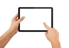 Eine männliche Hand, die einen Berührungsflächen-PC anhält Stockfoto