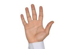 Eine männliche offene rechte Hand mit weißem Hintergrund Stockbilder