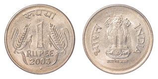 Eine Münze der indischen Rupie Stockbild