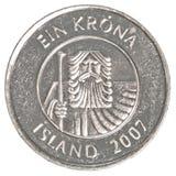 Eine Münze der isländischen Krona Lizenzfreies Stockfoto