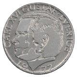 Eine Münze der schwedischen Krona Stockbild