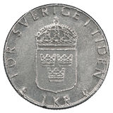 Eine Münze der schwedischen Krona Lizenzfreie Stockfotografie