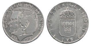 Eine Münze der schwedischen Krona Lizenzfreies Stockbild