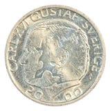 Eine Münze der schwedischen Krona Lizenzfreie Stockfotos