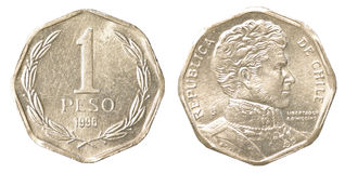 Eine Münze des chilenischen Pesos Lizenzfreie Stockbilder