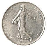 eine Münze des französischen Franken Stockfotografie