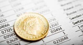 Eine Münze des Schweizer Franken auf schwankendem Diagramm Stockfotos