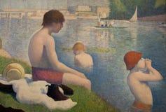Eine Malerei von Georges Seurat im National Gallery in London Stockbilder
