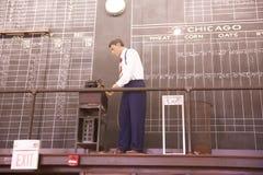 Eine Manneswachsfigur aktualisiert Baumwollpreise in Memphis Cotton Museum Lizenzfreie Stockfotos