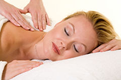 Eine Massage haben Stockfoto