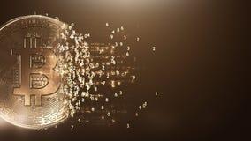 Eine Matrix bitcoin Münze auf einem Goldhintergrund Lizenzfreie Stockfotografie