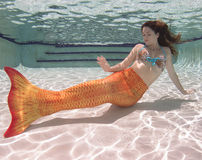 Eine Meerjungfrau mit und ein orange Endstück Unterwasser Stockbild
