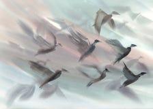 Eine Menge von den Vögeln, die Aquarellhintergrund fliegen lizenzfreie stockfotos