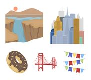 Eine Millionenstadt, ein Grand Canyon, golden gate bridge, Donut mit Schokolade Die gesetzten Sammlungsikonen US-Landes in der Ka Stockbilder