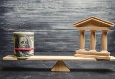 Eine Miniaturbank und ein Geld auf den Skalen Das Konzept der erfolgreichen Investition in der Bank Kredit/Darlehen/Ablagerung Da stockbild