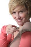 Eine Mitte gealterte blonde Frau. Stockfotografie