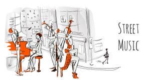 Eine musikalische Band von Straßenmusikern Das Quartett spielt Jazz auf einer Stadtstraße lizenzfreie abbildung