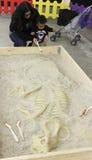 Eine Mutter und ein Sohn Dig Fossils an T-Rexplaneten, Tucson-Ausstellungs-Mitte Stockfotos