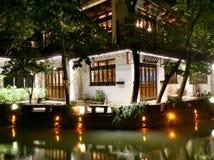 eine Nachtsicht der Chinese-Jiang Nan-Wasserstadt Stockbild