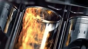 Eine Nahaufnahme der Maschine in der Zeitlupe mit Explosionen des Brennstoffs