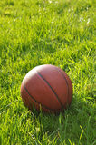Eine Nahaufnahme des Basketballs auf grünem Gras Stockfotografie