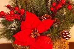 Eine Nahaufnahme von Weihnachtsdekorationen mit dem Grün, den Poinsettias und den roten Beeren lizenzfreie stockbilder