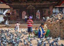 Eine Nepali Dame und ihre Kinder ziehen Tauben vor Tempel, Kathmandu, Nepal ein lizenzfreie stockfotos