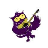 Eine nette Owl Singing While Strumming His-Gitarre - Vektor-Illustration Lizenzfreie Stockbilder