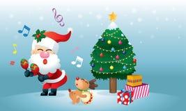 Eine nette Sankt und sein Ren ist, tanzend singend und unter den Weihnachtsbaum lizenzfreie abbildung