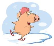 Eine nette Schweinezuchtbetriebtierkarikatur Stockfoto