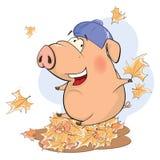 Eine nette Schweinezuchtbetriebtierkarikatur Lizenzfreie Stockfotos