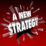 Eine neue Strategie-Wörter, die durch Glasplan-Ziel Missi brechen lizenzfreie abbildung