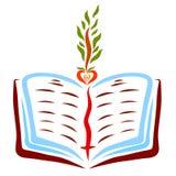 Eine offene Bibel mit einem Bookmark und einem Kreuz und eine Jungpflanze mit einem Samen in Form eines Herzens stockfotografie