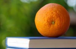 Eine Orange auf einem Buch Stockfotografie