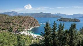 Eine panoramische Landschaft in Marmaris-Region der ägäischen Küste Lizenzfreies Stockfoto