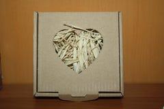 Eine Pappschachtel mit einem Herzen wird fotografiert Lizenzfreie Stockfotos
